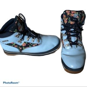 Blue Floral Timberland Combat Boots